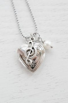 Silver Heart Locket Musical Charm NecklaceSilver by KimFong