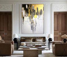 Large acrylic painting, Original abstract art,Original painting acrylic on canvas, modern art, Room Living Room Interior, Interior Design Living Room, Interior Decorating, Texture Painting On Canvas, Textured Painting, White Acrylic Paint, Art Moderne, Home Art, Room Decor