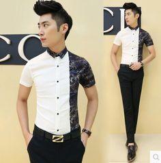 2015 Fashion Men Slim Fit Party Prom Evening Club Sexy Cool Print Shirts Aliexpress Retail CS153