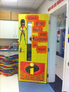 Incredible door idea using a superhero theme of the incredibles