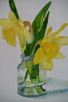 The daffodils are long gone, the irises nearly done. Watercolor Landscape Tutorial, Watercolour Painting, Watercolor Flowers, Watercolor Projects, Easy Flower Painting, Flower Art, Tulips In Vase, Daffodils, Easter Paintings