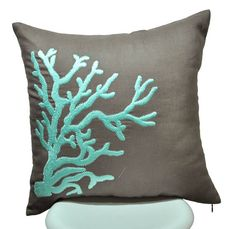 Turquoise Coral Pillow Cover, Throw Pillow Cover 18x18, Taupe Brown Linen with Turquoise Coral, Decorative Pillow  for Couch