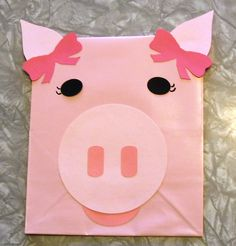 Pink Girl Pig Treat Sacks - Farm Ballerina Barnyard Theme Birthday Party Favor Bags by jettabees on Etsy. $15.00, via Etsy.