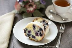 Have company coming or need something for a special brunch? This low carb gluten free lemon blueberry pound cake recipe is sure to please all! | LowCarbYum.com