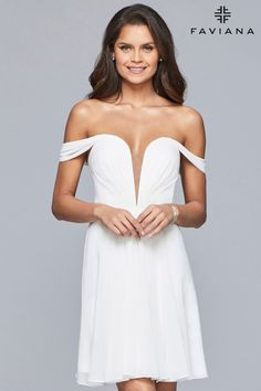 ab74b3f30af Faviana Style 10163 is a short chiffon off-the-shoulder dress with lace-up  back. The Ivory Style 10163 would make a great short wedding dress