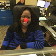 Yasmin of The Carpet Guys having fun sharing the message #RedNoseDay #RedNoseDay2015