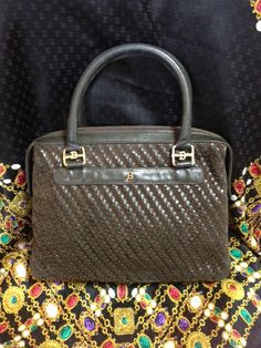 3c047848bc05 Vintage Bally darkbrown and khaki smooth and suede leather woven  combination handbag purse with gold Vintage