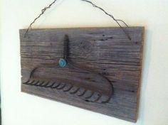 Vintage barn wood rake key or cup holder by DucoteArte on Etsy, $49.99