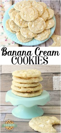 Banana Pudding Cookies are a classic banana cookie recipe with a twist! They have a great soft, chewy texture that comes from banana pudding mix as well as an entire banana in the dough. Banana cream pie lovers- you've got to try these banana cookies! Pudding Desserts, Banana Pudding Cookies, Banana Cookie Recipe, Banana Pudding Recipes, Cookie Desserts, Just Desserts, Chocolate Chip Cookies, Delicious Desserts, Desserts With Bananas