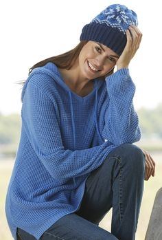 A waffle stitch hoodie in 11 shades is perfect over jeans.  Plus Size from Woman Within.