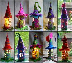 Filzlampe, Lampe gefilzt, Märchenlampe,  von Felted Art To Wear auf DaWanda.com