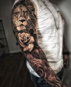 Tattoos Discover 100 Awesome Examples of Full Sleeve Tattoo Ideas A full sleeve tattoo is usually intricate from shoulder to wrist. Unlike small tattoos on the part of the arm the whole arm is the canvas for the tattoo. Tiger Tattoo Sleeve, Lion Sleeve, Lion Tattoo Sleeves, Arm Sleeve Tattoos, Sleeve Tattoos For Women, Tattoo Sleeve Designs, Tattoo Designs Men, Tattoos For Guys, Cool Tattoos