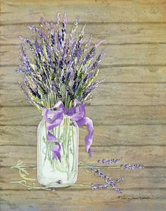 French Lavender Rustic Country Mason Jar Bouquet On Wooden Fence Painting by Audrey Jeanne Roberts