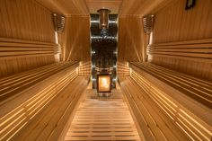 so welcoming and cozy Sauna Design, Finnish Sauna, Steam Sauna, Sauna Room, Western Red Cedar, Extra Seating, Garden Furniture, Simple Designs, Blinds