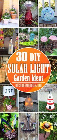 Mini Solar Lights, Solar Fairy Lights, Solar Light Crafts, Solar Lanterns, Solar Powered Lights, Diy Solar, Diy Garden Projects, Garden Ideas, Patio Ideas