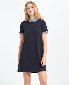 A-LINE NAVY DRESS with STRIPED COLLAR from Zara
