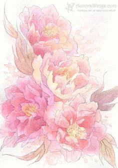 Free Shipping - Original Art - Floral - Pink Peonies - Soft Watercolor 5 x 7 Painting - by Mitzi Sato-Wiuff. $39.95, via Etsy.