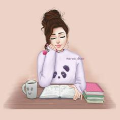 Time to study Girly M, Beautiful Girl Drawing, Cute Girl Drawing, Cute Girl Wallpaper, Cartoon Wallpaper, Exam Wallpaper, Cartoon Pics, Girl Cartoon, Anime Art Girl