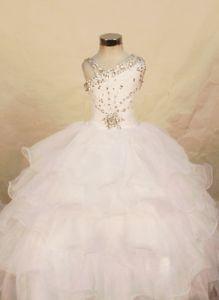 Asymmetrical Neck Ruffled White Little Girls Pageant Dresses