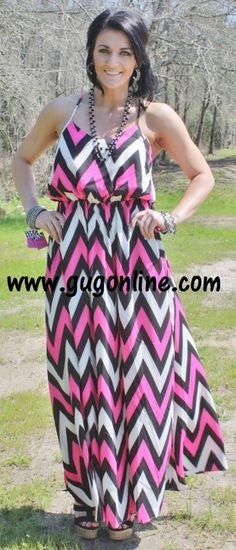 Crazy about Chevron Neon Pink and Black Maxi Dress www.gugonline.com