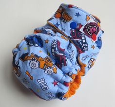 One Size Bamboo Fitted Hybrid Cloth Diaper Working trucks