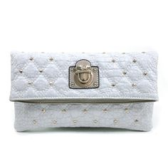 Anais Gvani Women's Quilted Croco Clutch w/ Gold Buckle and Stud Accents >>> Check this awesome product by going to the link at the image.