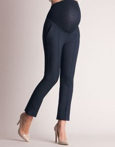 Navy Cropped Maternity Trousers