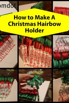 How to make a hairbow holder in the shape of a christmas tree.have fun this holiday season! Ribbon Flower Tutorial, Hair Bow Tutorial, Felt Flowers, Fabric Flowers, Christmas Hair Bows, Christmas Tree, How To Make Something, Diy And Crafts, Crafts For Kids