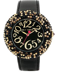 BLACK BAND LEOPARD PAVE WATCH