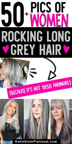Does long grey hair over 40 or over 50 make you look older? Are you too young to have long grey hair in your 30s? Absolutely not! Here are 50  examples of women of all ages sporting gorgeous long grey hair. Grey Hair Old, Grey Hair Over 50, Grey Hair Looks, Grey Hair Don't Care, Grey Hair Young, Long Silver Hair, Short Grey Hair, Long Hair Older Women, Grey Hair And Glasses