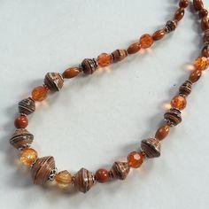 Orange Paper Beads - NCK 00308