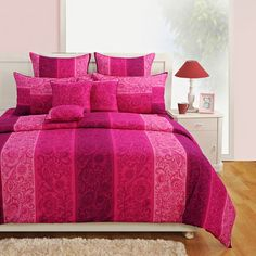 Swayam Signature Collection Bed Sheet Set Pink - Pink is a cute and charming color and certainly makes this bed sheet set from Swayam come alive! Made of the finest cotton, this will catch your eye with its intriguing floral pattern. Linen Bedding, Bedding Sets, Bed Linen, Bed Sheet Sets, Signature Collection, Comforters, Blanket, Pattern, Pink