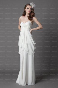 White Chiffon Floor Length Sweetheart Hand Made Flower Empire Wedding Dress at Millybridal.com