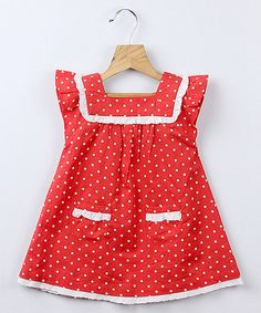 only $12.99! This Red Polka Dot Lace Dress - Infant, Toddler & Girls is perfect! #zulilyfinds
