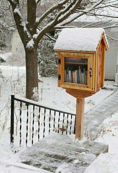 """Biblioteca comunitária em frente à casa, através de caixa de madeira com estante dentro e porta de vidro marcada com os dizeres """"pegue um livro"""" e """"devolva um livro""""."""