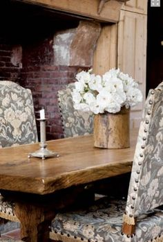 Charles Spada/kitchen table detail  Like more rustic kitchen table with more formal chairs