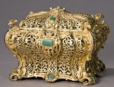 141: Wertheimer pierced gilt gem set jewelry casket : Lot 141