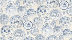 Cargo (CG01-BLUE/WHITE) - Andrew Martin Wallpapers - A charming wallpaper showing various ceramic dishes shown here in blue and white. Other colourways are available. Please request a sample for a true colour match. Wide width pattern. Paste the wall product.