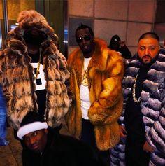 Meek Mill, Rick Ross, Diddy & DJ Khaled in furs