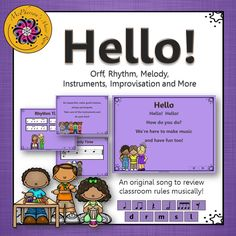 Fun elementary music lesson plan for back to school, reviewing rules along with rhythm and melody concepts and Orff arrangement.