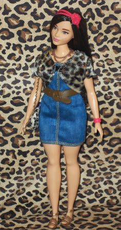 Dress made for Curvy Barbie Fashionista Doll Clothes by TKCT red//green//blue