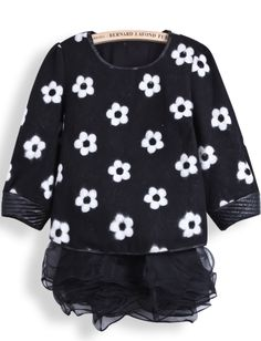 Black Long Sleeve Floral Top With Organza Dress US$36.07