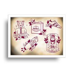 Wes Anderson tattoo flash by la barbuda - Lámina de Wes Anderson de la barbuda…