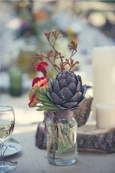 Artichoke + wildflowers = simplicity