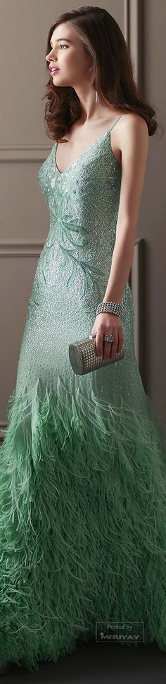 Light Green Gown by Aire Barcelona. Pretty Outfits, Pretty Dresses, Cool Outfits, Evening Dresses, Prom Dresses, Wedding Dresses, Green Gown, Beautiful Gowns, Formal Wear
