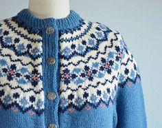 Vintage Nordic Cardigan / 1960s Hand Knit Norwegian by zestvintage
