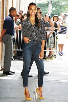 Zoe Saldana Just Wore Your Next Chic Work Outfit via @WhoWhatWear