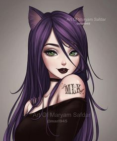 Purple Cat Girl by on DeviantArt Anime Wolf Girl, Cool Anime Girl, Kawaii Anime Girl, Anime Art Girl, Dark Anime Art, Cute Manga Girl, Kawaii Art, Anime Girls, Anime Neko
