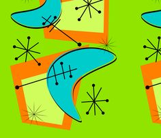 Atomic Era Boomerangs II fabric by hot4tees_bg@yahoo_com on Spoonflower - custom fabric