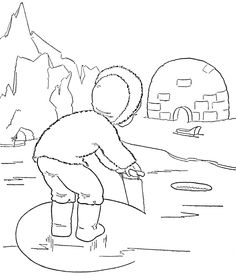 the activity of an inuit child in the snow coloring pages